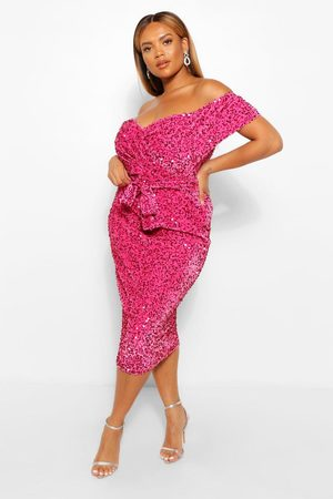 Boohoo Women Party Dresses - Plus Sequin Off The Shoulder Wrap Midi Dress