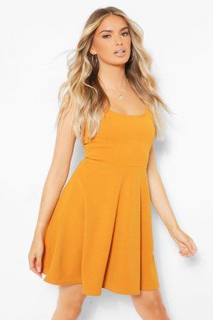 Boohoo Belted Strappy Skater Dress- Mustard