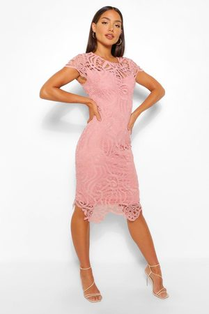 Boohoo Lace Cap Sleeve Midi Dress- Blush