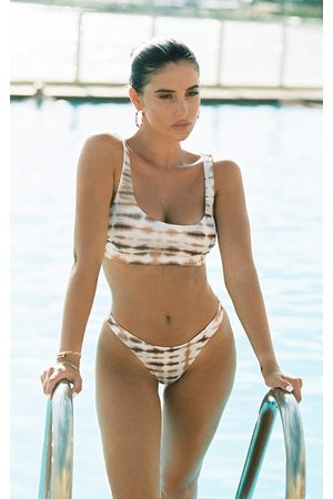 PRETTYLITTLETHING Nude Ribbed Tie Dye High Leg Bikini Bottoms