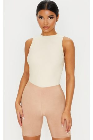 PRETTYLITTLETHING Sand Stretch Slinky High Neck Sleeveless Bodysuit