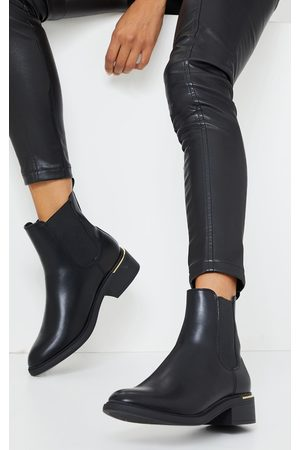 PRETTYLITTLETHING Basic Gold Trim Chelsea Ankle Boot