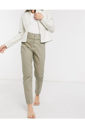 Dr Denim Nora high rise mom jeans in stone wash-Green