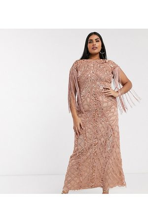 A Star Is Born Exclusive embellished maxi dress with fringe sleeves in rose gold