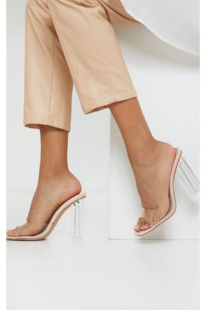PRETTYLITTLETHING Women Heels - Nude Clear High Block Heel Low Vamp Mules