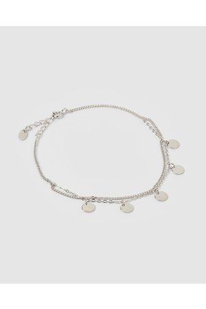 Izoa Women Bracelets - Coin Double Chain Anklet - Jewellery Coin Double Chain Anklet