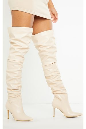PRETTYLITTLETHING Cream Slouch Mid Heel Point Toe Thigh High Boot