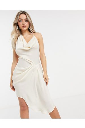 I saw it first Hammered satin halter asymmetric drape mini dress in white