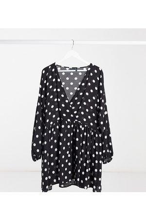 ASOS ASOS DESIGN Tall casual wrap front mini smock dress in mono spot-Multi