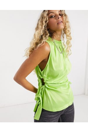 Topshop Cut-out tank in lime-Green