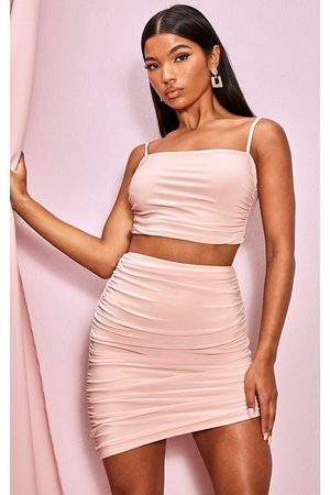PRETTYLITTLETHING Blush Slinky Ruched Detail Longline Strappy Top