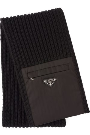 Prada Zipped pocket knitted scarf