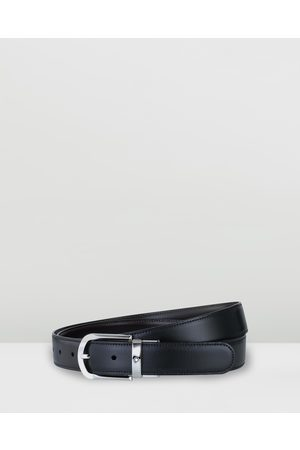 Mont Blanc Men Belts - Revolving Rounded Horseshoe Shiny Palladium Coated Pin Buckle Belt - Belts Revolving Rounded Horseshoe Shiny Palladium-Coated Pin Buckle Belt