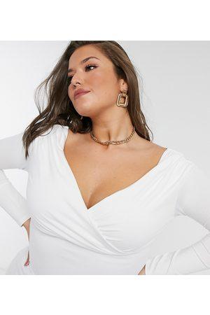 ASOS ASOS DESIGN Curve exclusive wrap over bardot top in white
