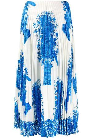 VALENTINO Women Pleated Skirts - Ceramic print pleated midi skirt