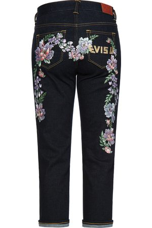 Evisu Floral Daicock and Logo Embroidered Straight-legged Jeans