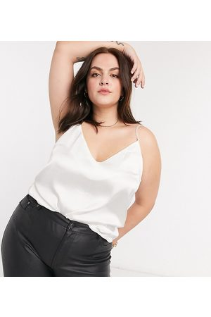 ASOS ASOS DESIGN Curve v neck satin cami in Ivory-White