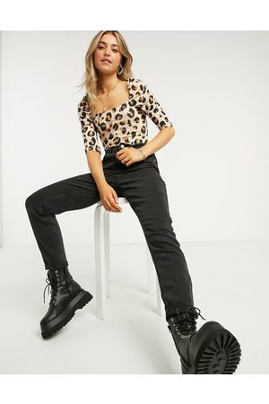 New Look Square-neck seamed body in animal print-White