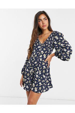 ASOS Shirred v-neck button-through mini tea dress in ditsy floral print-Multi