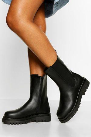 Boohoo Calf High Chunky Hiker Boots