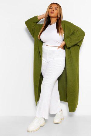 boohoo Plus Cocoon Oversized Rib Knit Cardigan- Khaki
