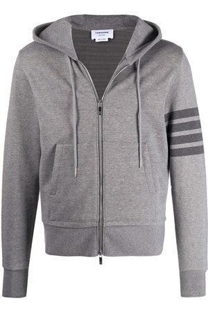 Thom Browne Men Hoodies - 4-Bar zip-up loopback-cotton hoodie