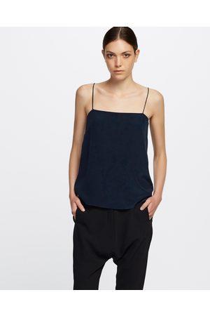 GINIA RTW Chloe Silk Cami - T-Shirts & Singlets (French Navy) Chloe Silk Cami