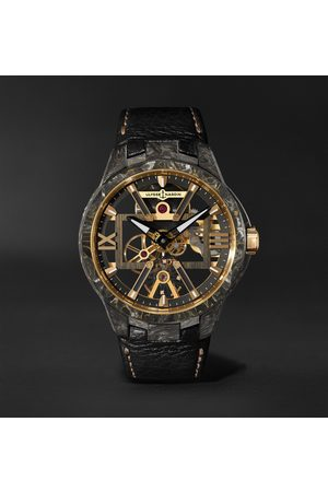 Ulysse Nardin Men Watches - Skeleton X Hand-Wound 43mm Carbonium Gold and Full-Grain Leather Watch