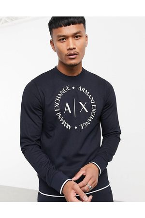 Armani Circle logo crew neck sweat in navy