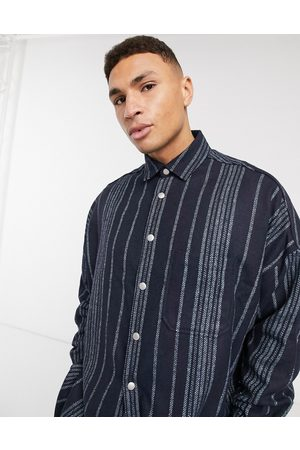 ASOS Wool mix extreme oversized stripe shirt in navy texture