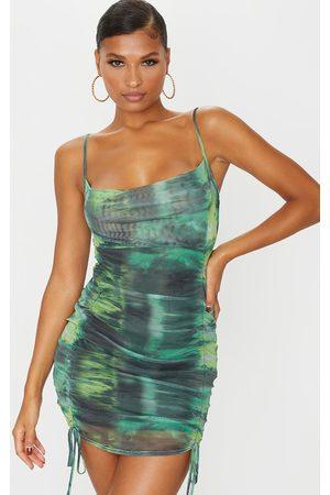 PRETTYLITTLETHING Tie Dye Print Strappy Ruched Tie Hem Bodycon Dress