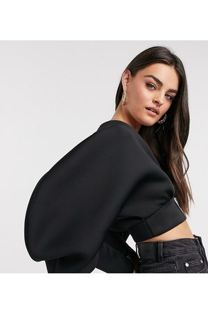True Violet Exclusive plunge balloon sleeve crop top in black