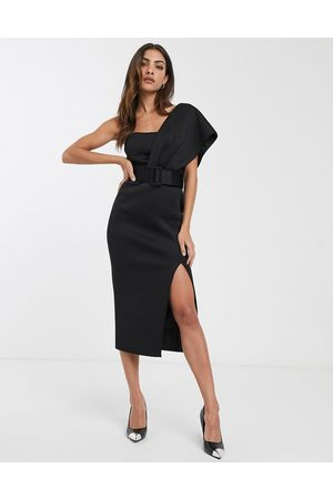ASOS One shoulder belted midi pencil dress in black