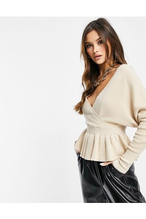 Liquorish Wrap front knitted top with frill in oatmeal-Cream