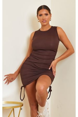 PRETTYLITTLETHING Shape Chocolate Rib Ruched Side Sleeveless Bodycon Dress