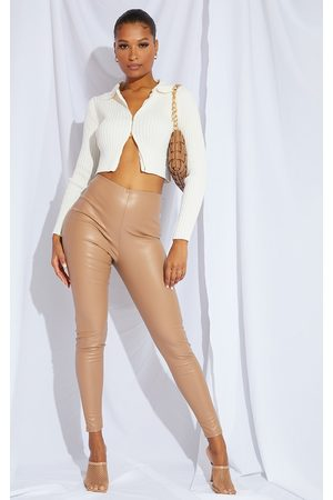 PRETTYLITTLETHING Leather Pants - Stone Faux Leather Legging