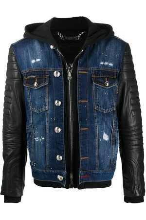 Philipp Plein Leather panel denim jacket