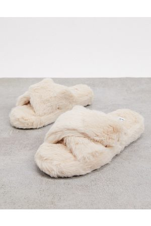 SIMMI Shoes Simmi London fluffy slippers in cream