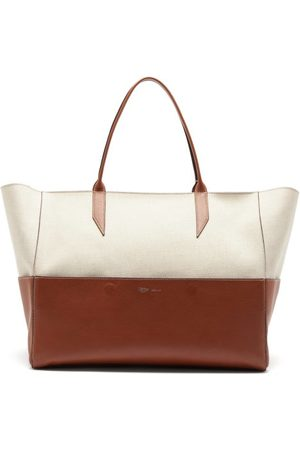 Métier Incognito Large Linen And Leather Tote Bag - Womens - Tan Multi