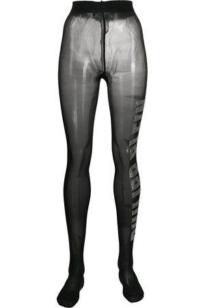 Philipp Plein Logo gem-embellished tights