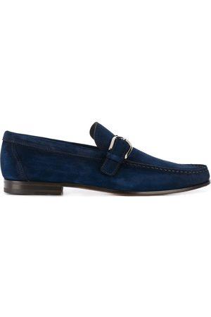 santoni Buckle detail suede loafers
