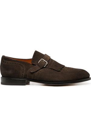 santoni Buckle-fastening suede loafers