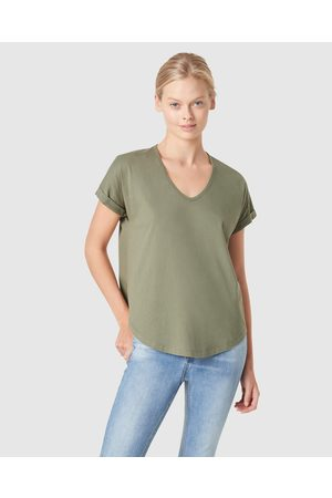 French Connection Organic Dipped Hem T Shirt - T-Shirts & Singlets (KHAKI) Organic Dipped Hem T Shirt