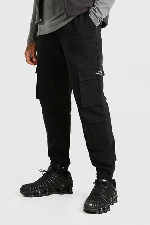Boohoo Mens Twill Multi Pocket Cargo trousers With Bungee Cords