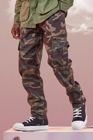 Boohoo Mens Khaki Camo Twill Cargo trousers With Popper Ankle