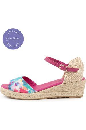 Django & Juliette Women Heeled Sandals - Suzane Djl Sunset Fuchsia Sandals Womens Shoes Casual Heeled Sandals
