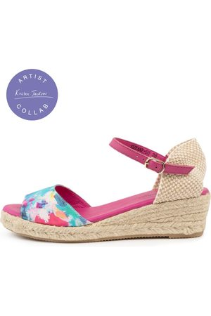 Django & Juliette Women Heeled Sandals - Suzane Dj Sunset Fuchsia Sandals Womens Shoes Casual Heeled Sandals