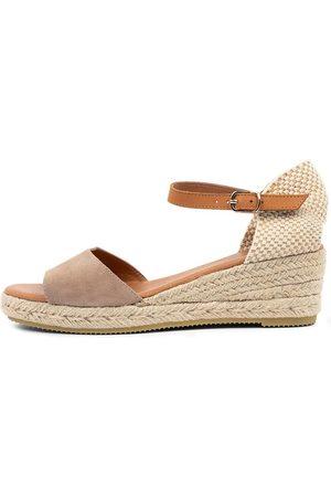Django & Juliette Women Heeled Sandals - Suzy Djl Taupe Lt Tan Sandals Womens Shoes Casual Heeled Sandals