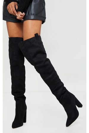 PRETTYLITTLETHING Faux Suede Pointed Flat Block Heel Over Knee Heeled Boots
