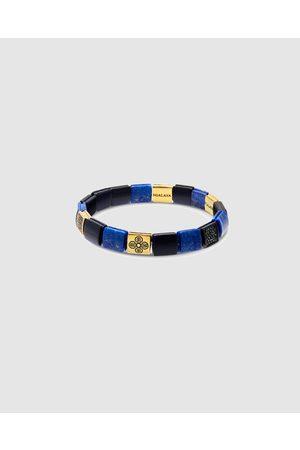 Nialaya Men's Wristband with Matte Onyx, Lapis and Dorje Flatbeads - Jewellery Men's Wristband with Matte Onyx, Lapis and Dorje Flatbeads
